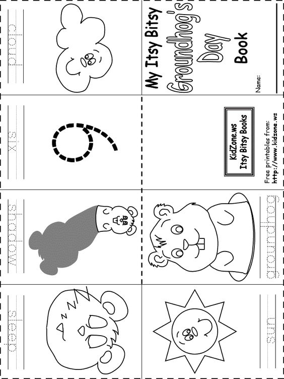 Itsy bitsy Ground Hog Day book - free printable........some neat ...