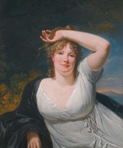 Henri-Pierre Danloux PARIS 1753 - 1809 PORTRAIT OF A YOUNG LADY IN A WHITE DRESS