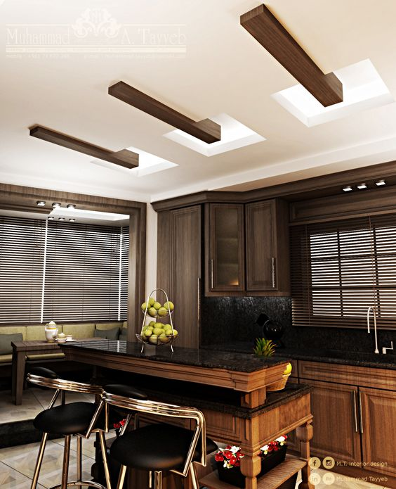 #Wood was used to give an exciting touch to the indirectly lighted #ceiling.