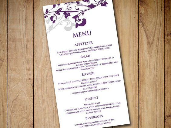 Wedding Menu Card Template Download -  - menu template for word