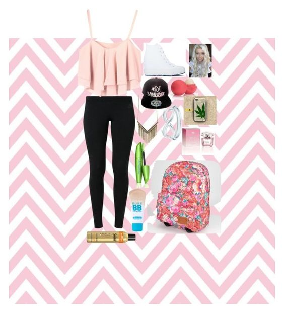 """""""School Day"""" by hayes-grier-matt ❤ liked on Polyvore featuring moda, NIKE, Converse, Eos, Tiffany & Co., COVERGIRL, Maybelline, Suave, Versace e Samsung"""
