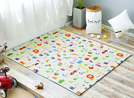 Amazon Com Little Bot Baby Foam Play Mat Non Toxic Odourless And Ultra Cushioned Park And Polka Dots Green 71 Inch Play Mat Interior Help Nursery Decor