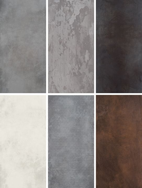 Ceramiche Refin's Design Industry Oxyde Porcelain Tiles Collection evoke the glazed look of oxidized metals combining bright and dark shades. Available in 5 formats (30''x60'', 10''x60'', 30''x30'', 24''x24'' and 12''x24'' in 5 different finishes.: