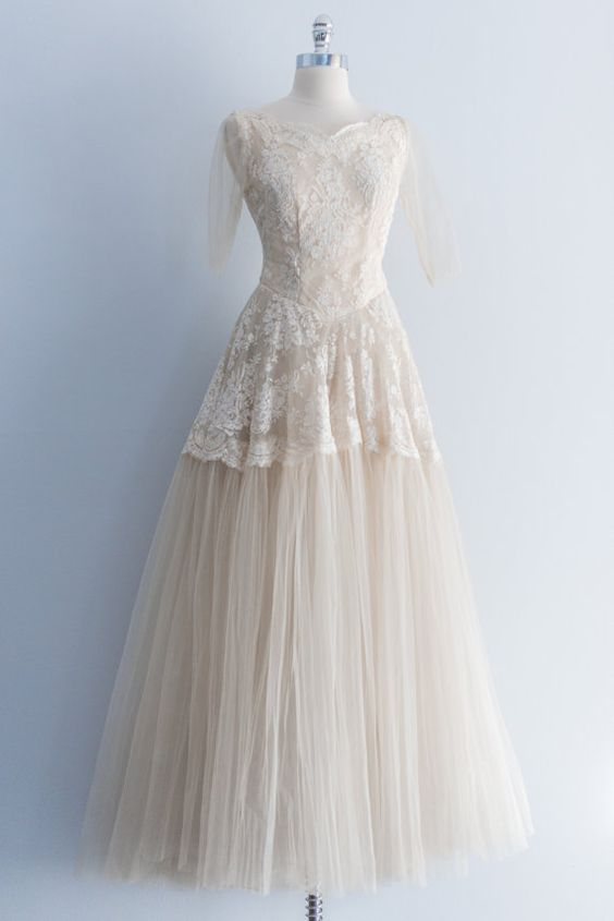 NEW LISTING 1950's French Lace Tulle Wedding Gown by ShopGossamer, $288.00