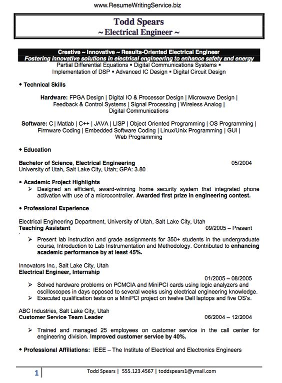 Electrical Engineer Resume Sample Doc (Experienced) resume - Team Leader Resume