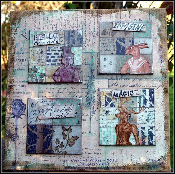 Les folies de Coco... Les Anthropomorphes Series 1:  a mixedmedia canvas - Using KTZ134 ('Fleurs'), KTZ142 ('Rabbit'), KTZ138 ('Gouttes d'Eau') and KTZ139 'English Quotes'