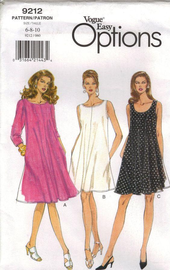 Vogue Sewing Pattern 9212 - Misses\' Dress (6-10) | Patrones de ...