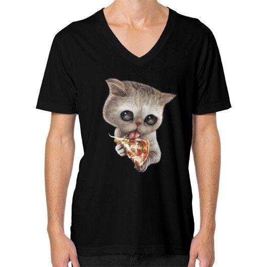 CAT LOVES PIZZA V-Neck (on man)