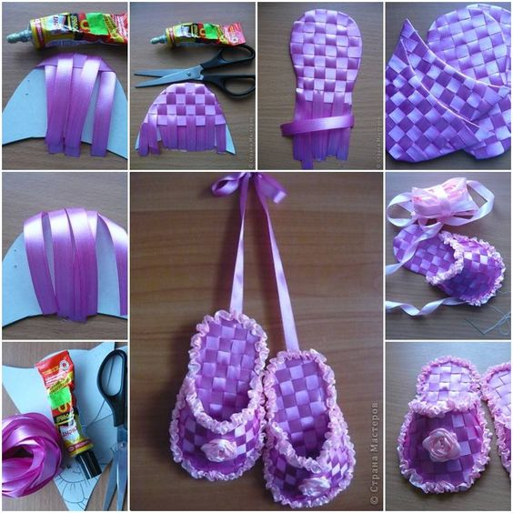 How to make gift ribbon slippers step by step diy tutorial for Ribbon crafts to make