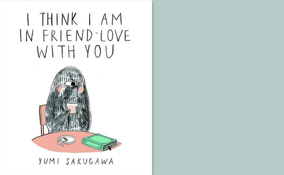 Book Cover design for 'I Think I Am In Friend-Love with You'  (Monster-like creature sitting at a table by himself.)