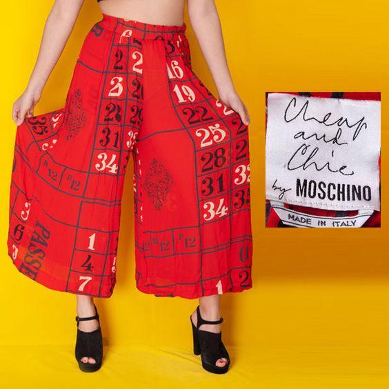 VTG 80s MOSCHINO Cheap and Chic BINGO print PALAZZO Pants