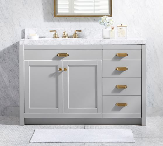 Davis Asymmetric Single Sink Vanity With Drawers Potterybarn