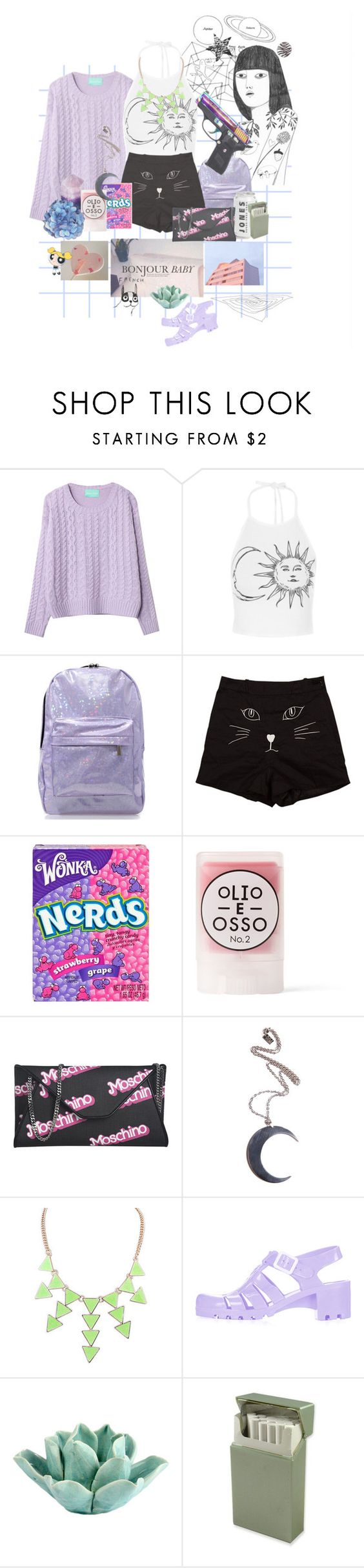 """Powerpuffer"" by teodora-teddy ❤ liked on Polyvore featuring Chicnova Fashion, River Island, Olio E Osso, Moschino, Kill Star, Topshop, HomArt and House by John Lewis"