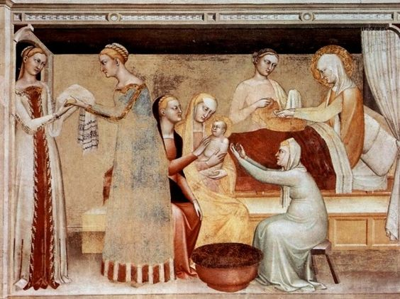 "Giovanni da Milano Fresco ""The Nativity of Mary"" (Florence, Santa Croce, Rinuccini Chapel)"