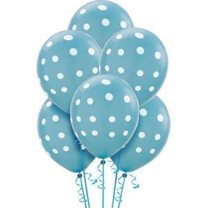 Latex Caribbean Blue Polka Dot Balloons 12in 6ct