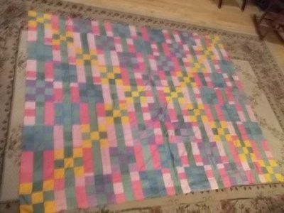 """Vintage Patch Quilt Topper Mixed Material 79"""" x 66"""" Estate Find TR   eBay"""