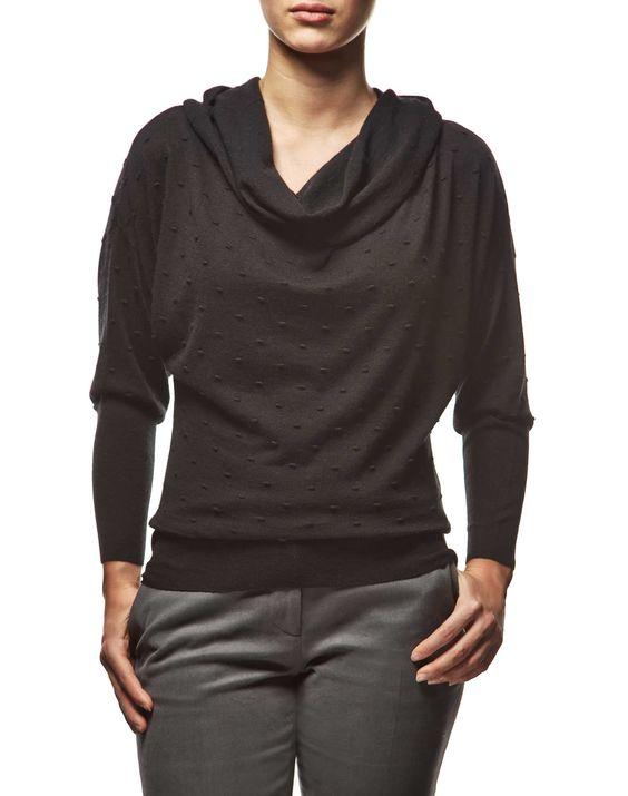 #Maglione con collo ad anello in #lana #merino e seta con lavorazione in rilievo e maniche a pipistrello #ai2014