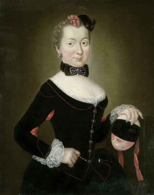 Henriette Sophie Christine von Lüderitz, geborne von Rochow, mit venezianischer Karnevalsmaske by Christian Friedrich Reinhold Lisiewski ca. 1750's-60's: