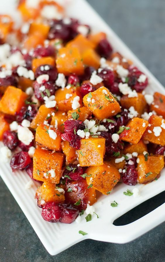 Honey Roasted Butternut Squash with Cranberries and Feta- this beautiful side dish is full of fall flavors and colors that is perfect to make for the holidays!