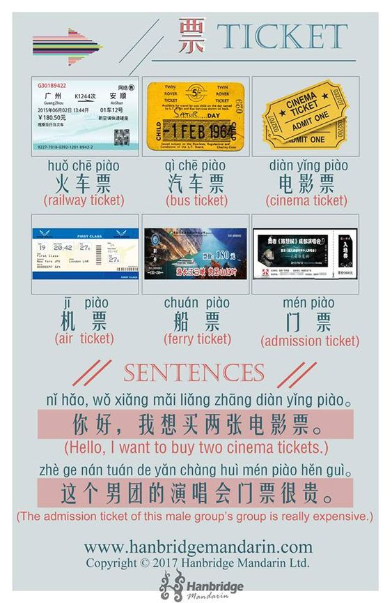 tickets in Chinese