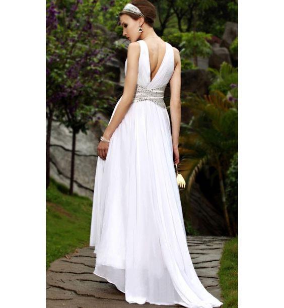 white+beach+dress | ... Long White Chiffon V-neck Pageant Beach Wedding Dress sphl30298