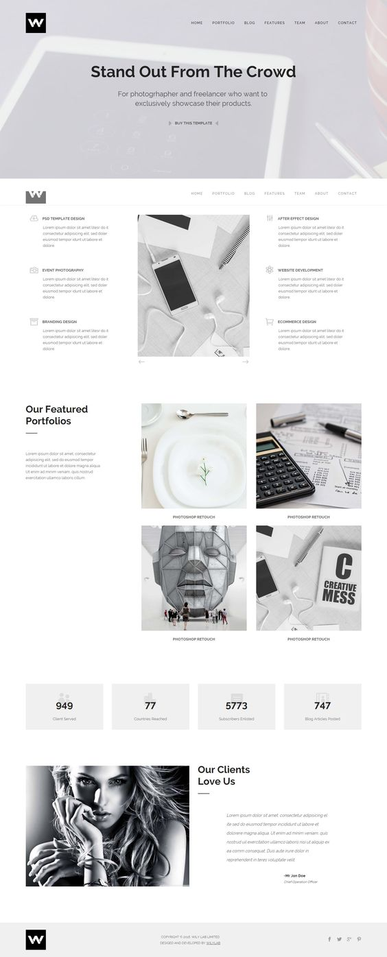 w studio portfolio parallax html template studios it is and w studio is versatile portfolio html template for agency lancer artist it is a perfect showcase template for your creative work