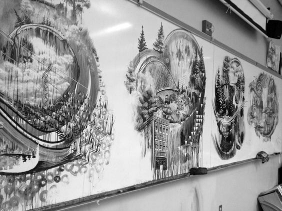 "Teacher Draws Incredible Whiteboard Murals at Lunch Break | From the series ""Laid Down & Wiped Away"" by Gregory Euclide. The real kicker about this project is that Euclide has literally wiped away each piece after completion, deeming the works ""temporary paintings."" 