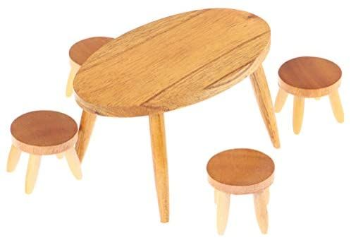 Haomian 1 Set 1 12 Dollhouse Miniature Wooden Dining Table Chair Doll House In 2020 Diy Dollhouse Furniture Diy Dolls House Accessories Dining Table Chairs