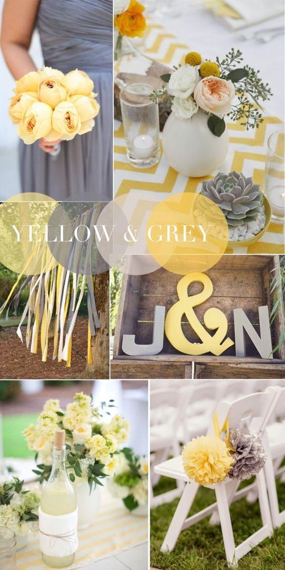 jaune et gris combinaisons gagnantes de couleurs pour votre mariage en 2015 yellow and gray. Black Bedroom Furniture Sets. Home Design Ideas
