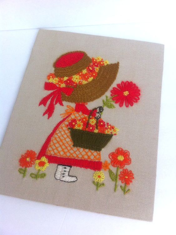 Needlework Girl In Bonnet White Boots Vintage 70s Embroidery Basket Flowers by Pesserae on Etsy