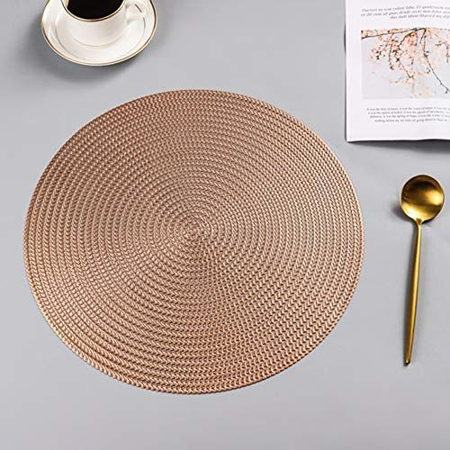 Affc Round Placemats And Coasters Heat Waterproof Dining Woven Table Mat Non Slip Napkin Bowl Placemats Placemats For Round Table Simple Decor