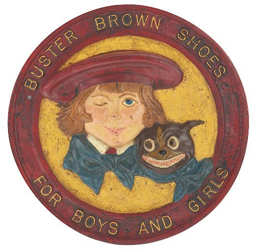 Cast Iron Buster Brown Shoes Advertising Sign Buster Brown Shoe