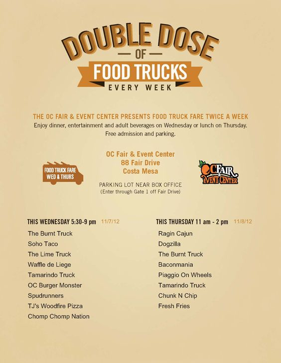 Got plans Wednesday night? Tomorrow 5:30P to 9:00P at OC Fair & Event Center (88 Fair Dr, Costa Mesa, CA) we join up with some of the most mouthwatering food trucks around: The Burnt Truck, The Lime Truck, Waffles de Liege, Tamarindo Truck, OC Burger Monster, Spudrunners, TJ's Woodfire Pizza & Chomp Chomp Nation.  Check out the official flyer!