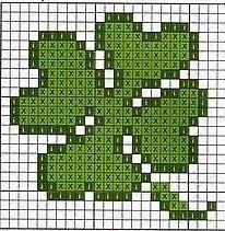 Lucky four leaf clover -- perler beads crochet Pinterest Motifs, Trefle...