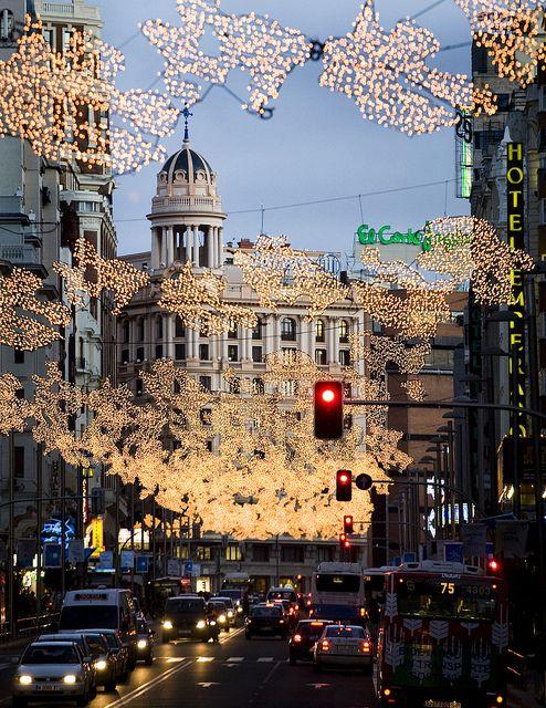 Christmas lights in Gran vía, Madrid