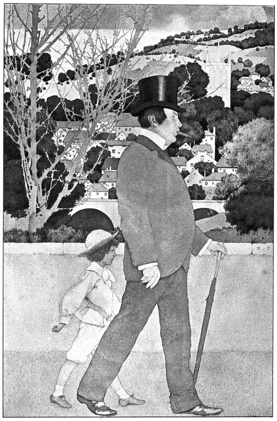 """I took the old fellow to the station. """"The Golden Age"""" (1900) illustrated by Maxfield Parrish"""