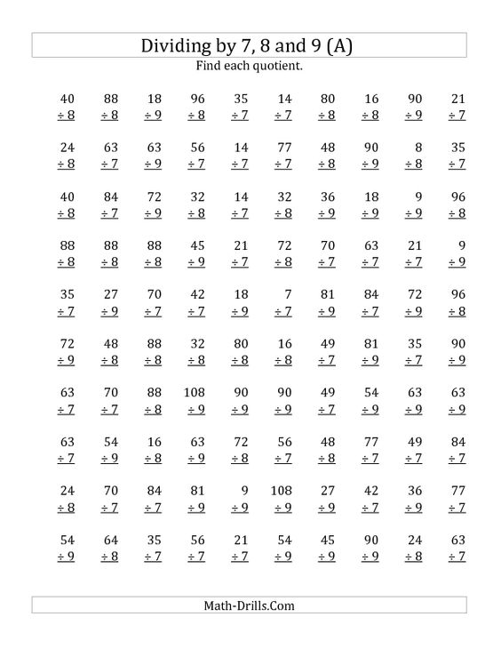 Division Worksheet -- Dividing by 7, 8 and 9 (Quotients 1 to 12 ...