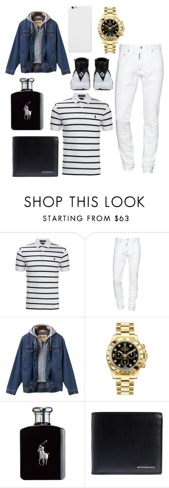 """Untitled #936"" by blueblessed ❤ liked on Polyvore featuring Ralph Lauren, Dsquared2, Rolex, Burberry, men's fashion and menswear"