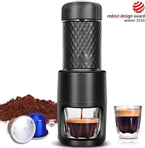 New Staresso Portable Espresso Machine Manual Espresso Rich Thick Crema Mini Espresso Maker Compatible Nespresso Pods Ground Coffee Small Hand Espresso In 2020 Portable Espresso Maker Portable