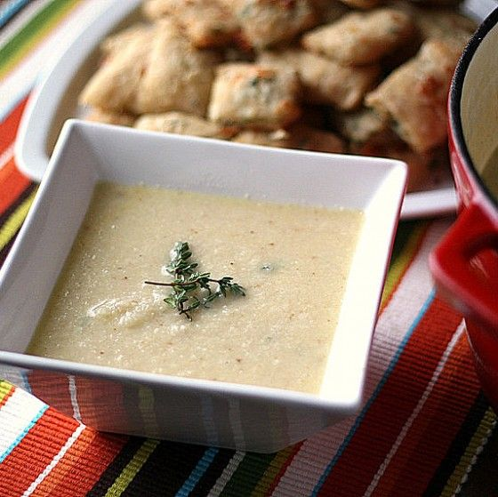 Roasted cauliflower soup with white cheddar cheese.