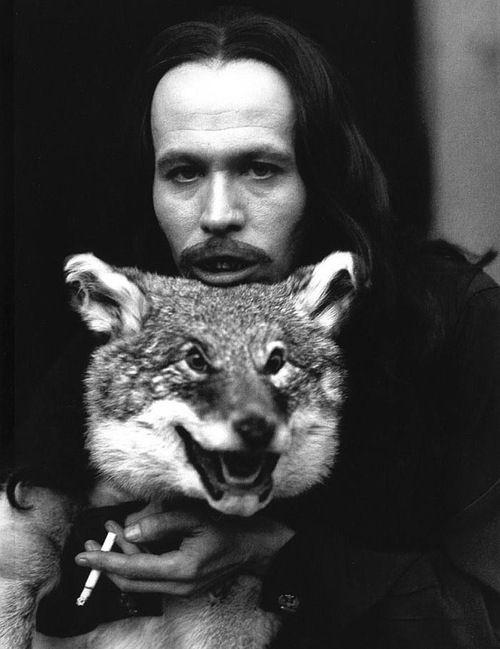 Gary Oldman posing with Wolf Skin