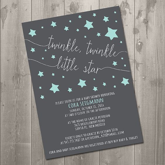 Twinkle Twinkle Little Star Baby Shower Invites ~ Twinkle little star baby shower invitation diy