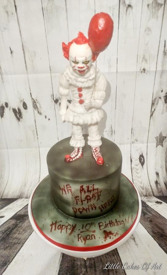 Phenomenal Pennywise Cake By Little Cakes Of Art Scary Cakes Dad Birthday Cards Printable Trancafe Filternl