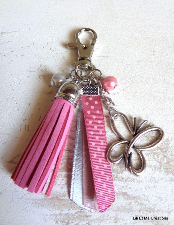 """Bijou de sac, porte-clés Grigri Lili et Ma Créations """"Papillon rose"""" : Autres bijoux par lili-et-ma-creations"""