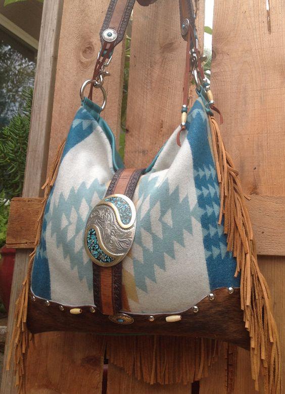 ༻✿༺ ❤️ ༻✿༺ Pendleton Wool & Turquoise Goatskin Fringed | Double J. Originals | $300.00 SOLD ༻✿༺ ❤️ ༻✿༺