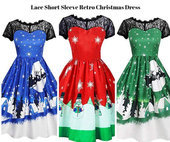 Lace Short Sleeve Retro Christmas Dress