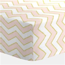 Pale Pink and Gold Chevron Crib Sheet 250x250 image