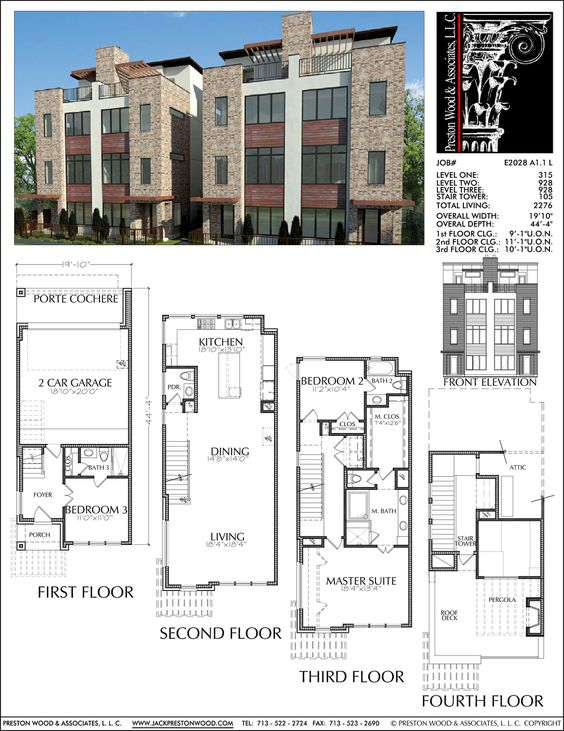Duplex townhome plan e2028 a1 1 small modern house for Small townhouse floor plans