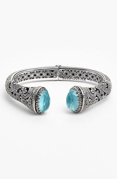 Free shipping and returns on Konstantino 'Aegean' Hinged Cuff at Nordstrom.com. Old-world Grecian motifs inspire the handcrafted detail coursing throughout this tapered silver cuff culminating with lustrous sea-blue doublets.