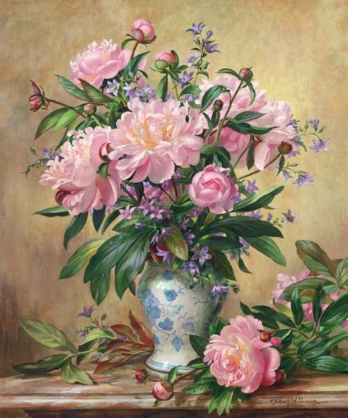 Vase of Peonies and Canterbury Bells by English Painter Albert Williams 1922 - 2010: